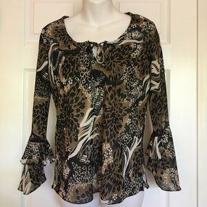 Impressions Floral Faux Animal Print Blouse